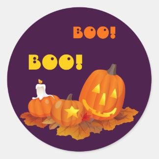 Pegatinas divertidos de Jack O'Lantern Halloween Pegatina Redonda