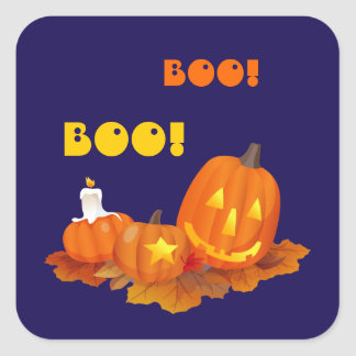 Pegatinas divertidos de Jack O'Lantern Halloween Pegatina Cuadrada