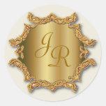 Pegatinas dorados del boda del pegatina del monogr