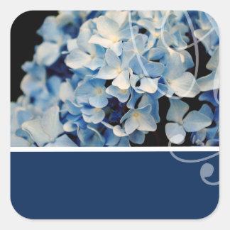 Pegatinas elegantes azules del boda pegatina cuadrada