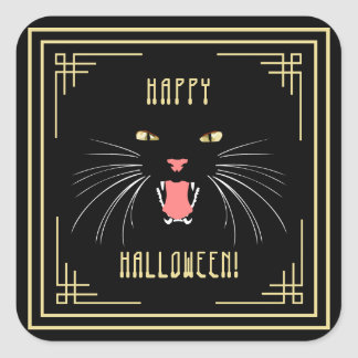 Pegatinas elegantes negros del gato de Halloween Pegatina Cuadrada