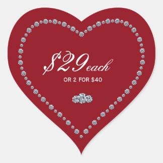 Pegatinas en forma de corazón del precio pegatina en forma de corazón