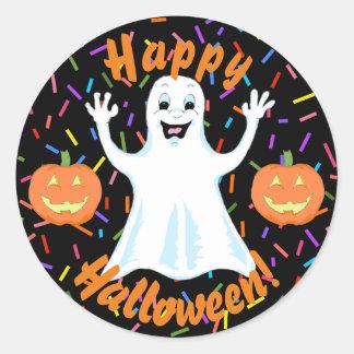 Pegatinas felices de Halloween del fantasma Pegatina Redonda