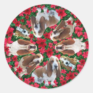 Pegatinas festivos de Basset Hound del navidad Pegatina Redonda