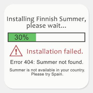 Pegatinas finlandeses divertidos del verano pegatina cuadrada