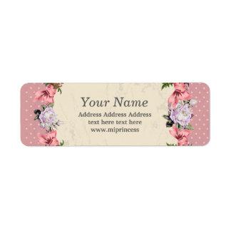 pegatinas florales del remite etiqueta de remitente