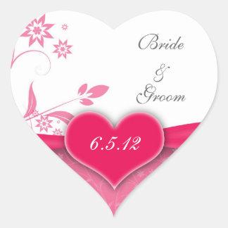Pegatinas florales del rosa y blancos del boda colcomanias de corazon personalizadas