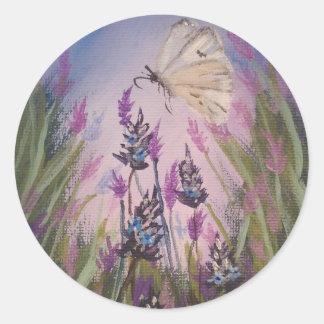 pegatinas florales, lavanda y mariposa blanca pegatina redonda