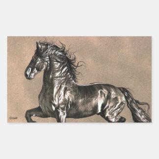 Pegatinas frisios del caballo pegatina rectangular