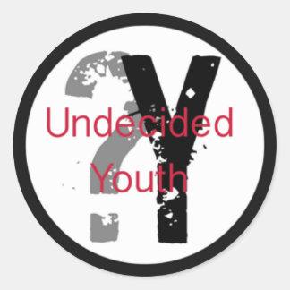 Pegatinas indecisos de la juventud (3 pulgadas) pegatina redonda