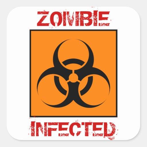 Pegatinas infectados zombi calcomania cuadradas personalizada