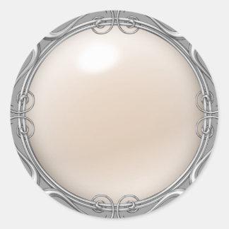 Pegatinas Jeweled crema de la perla Pegatina Redonda