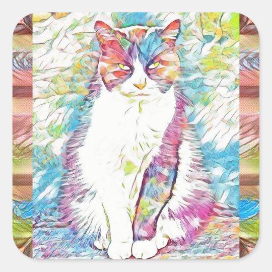 Pegatinas lindos del arte abstracto del gato del pegatina cuadrada