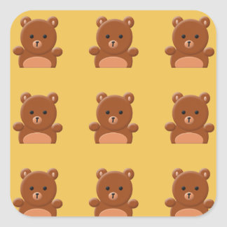 Pegatinas lindos del oso de peluche pegatina cuadrada