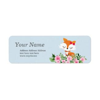 pegatinas lindos del remite del zorro etiqueta de remitente