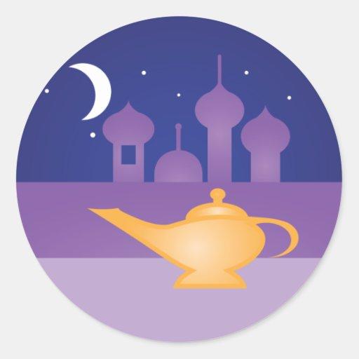 Pegatinas mágicos de la lámpara de la noche árabe etiquetas redondas