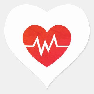 Pegatinas médicos rojos del corazón de EKG Pegatina En Forma De Corazón