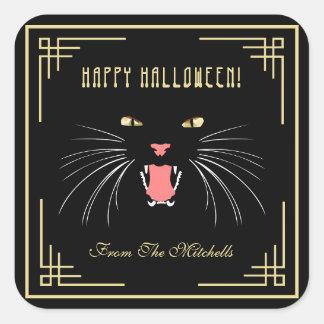 Pegatinas modernos negros de la diversión del gato pegatina cuadrada