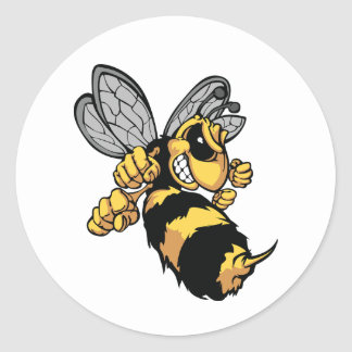 Pegatinas muy enojados de la abeja pegatina redonda