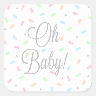Pegatinas neutrales del bebé del género, cuadrado pegatina cuadrada