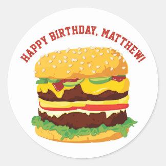 Pegatinas o sellos de encargo del cheeseburger del