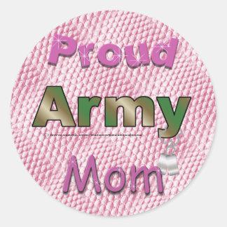Pegatinas orgullosos de la mamá del ejército etiqueta redonda