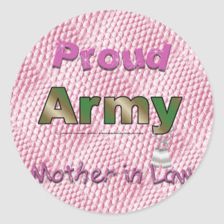 Pegatinas orgullosos de la suegra del ejército etiquetas redondas