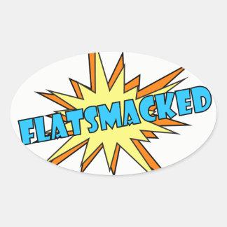 Pegatinas ovales del #FLATSMACKED azules