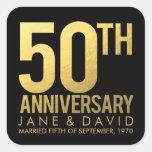 Pegatinas personalizados 50.o aniversario del oro pegatina cuadrada