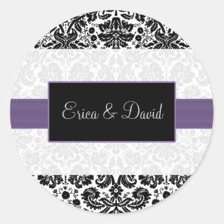 pegatinas púrpuras del monograma del boda del dama