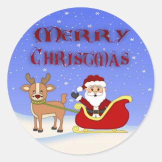 Pegatinas redondos de Santa de las Felices Navidad Pegatina Redonda