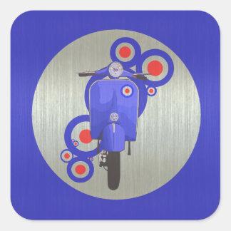 Pegatinas retros azules metálicos de la vespa y de calcomanía cuadrada