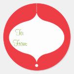 Pegatinas retros del regalo del ornamento etiquetas redondas