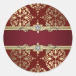 Pegatinas rojos de rubíes elegantes del damasco de