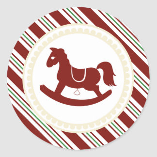 Pegatinas rojos del bastón de caramelo del caballo etiquetas redondas