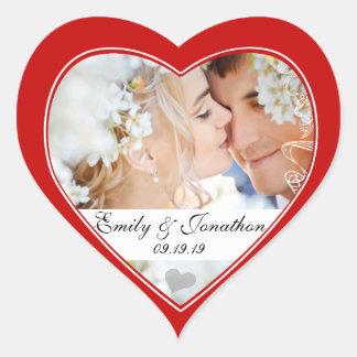 Pegatinas rojos del boda de la foto del corazón pegatina en forma de corazón