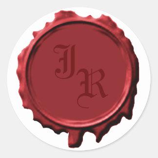 Pegatinas rojos del boda del sello del monograma pegatina redonda
