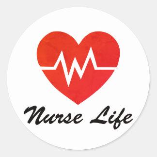 Pegatinas rojos del corazón de la vida EKG de la Pegatina Redonda