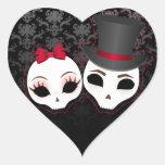 Pegatinas (rojos) del corazón de Skullies de la Colcomanias De Corazon