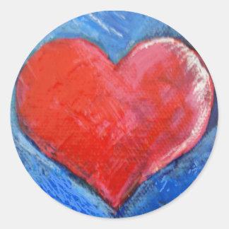 Pegatinas rojos del corazón pegatina redonda
