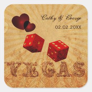 pegatinas rojos del favor de Vegas del vintage de Pegatina Cuadradas Personalizada