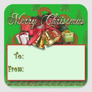 Elegant Red Green Gold Christmas Gift Tag Stickers