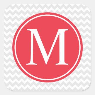 Pegatinas rojos grises modernos del monograma del pegatina cuadrada