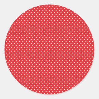 Pegatinas rojos y blancos clásicos del lunar pegatina redonda