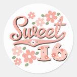 Pegatinas rosados bonitos del dulce 16 del pétalo pegatina redonda