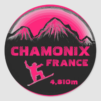 Pegatinas rosados del arte de la snowboard de pegatina redonda