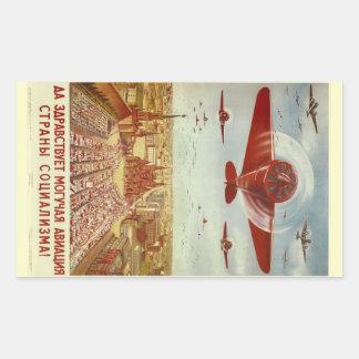 Pegatinas rusos de la propaganda de la aviación pegatina rectangular