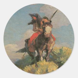 Pegatinas salvajes indios del cuervo 1896 del pegatina redonda