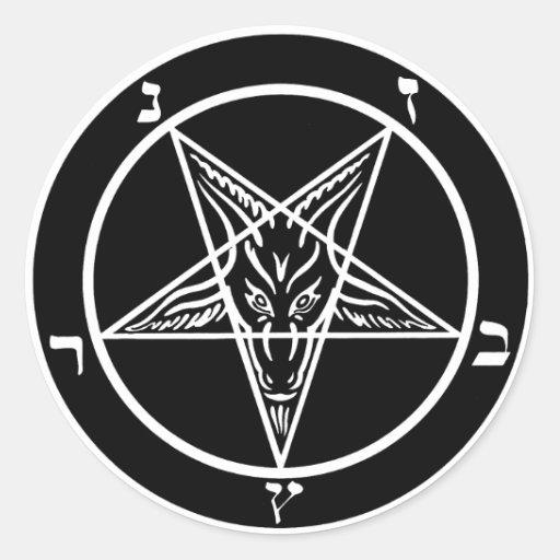Pegatinas satánicos de Baphomet del metal negro Etiqueta Redonda