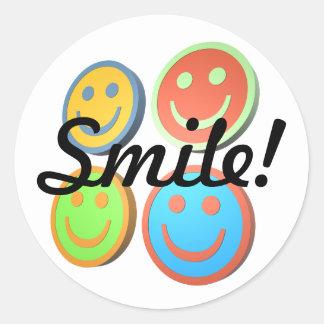 Pegatinas sonrientes de las caras del arte pop pegatina redonda
